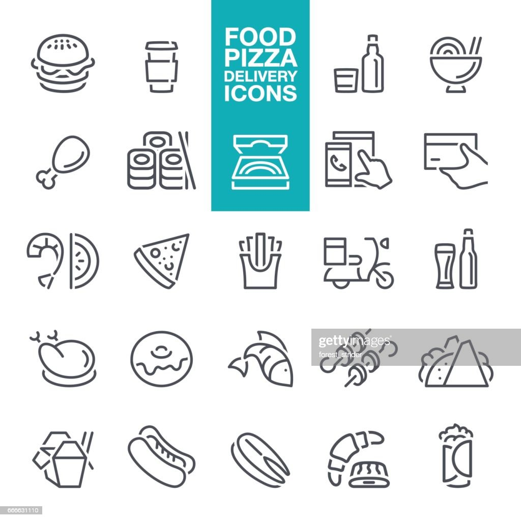 Fast Food and Pizza delivery line Icons : stock illustration