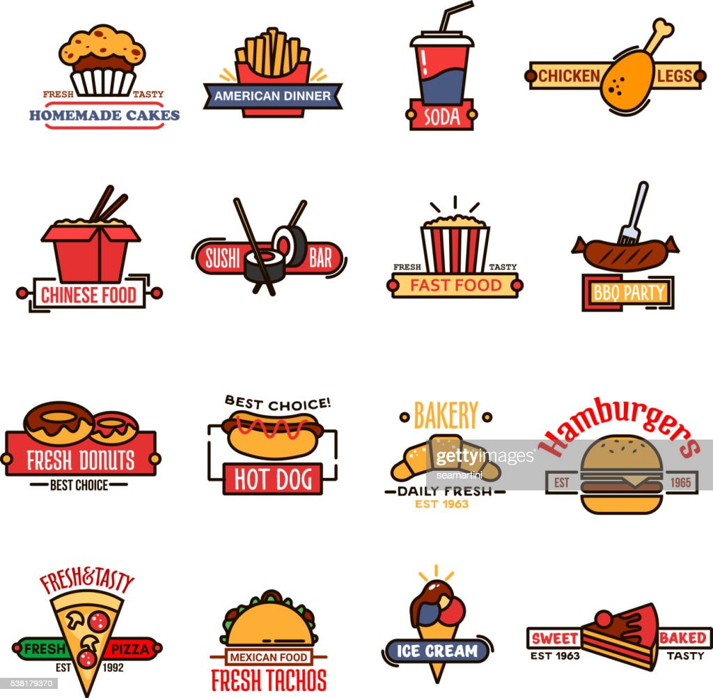 Fast food, bakery and sushi bar thin line icons