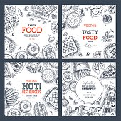 Fast food banner collection . Linear graphic. Snack collection.