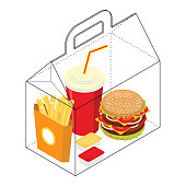 Fast food box. Packing for breakfast. French fries and hamburger