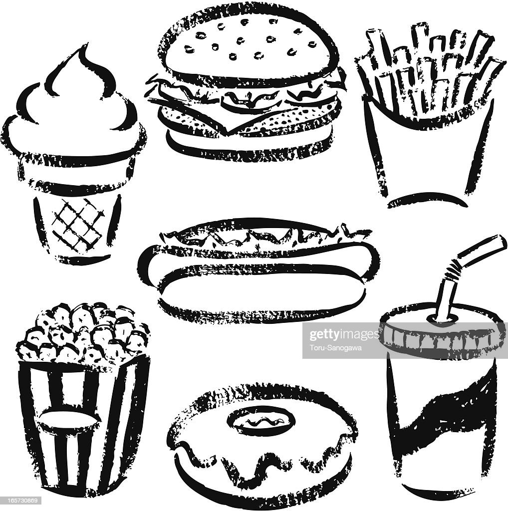 Fast Food By Handdrawn Stock Illustration