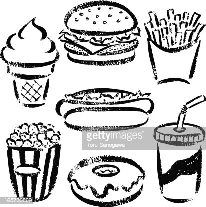 Fast Food By Handdrawn Vector Art Getty Images