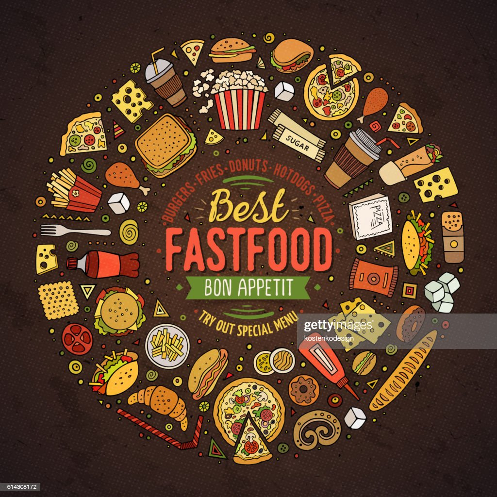 Fast food cartoon doodle objects, symbols and items