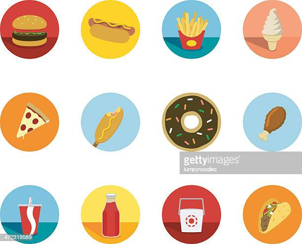fast food circle icons - unhealthy eating stock illustrations
