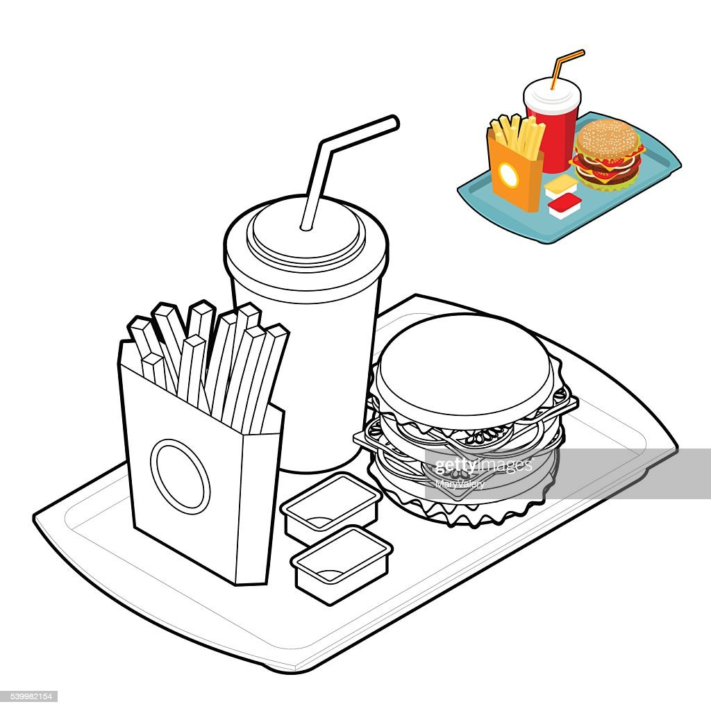 Fast food coloring book. Food in linear style.