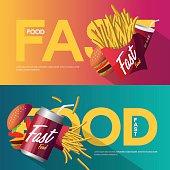 Fast food creative poster design set.