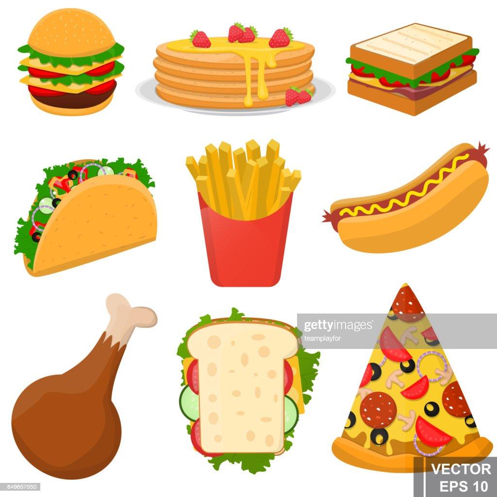 Fastfood Sehr Lecker Abendessen Symbol Für Ihr Design Vektorgrafik ...