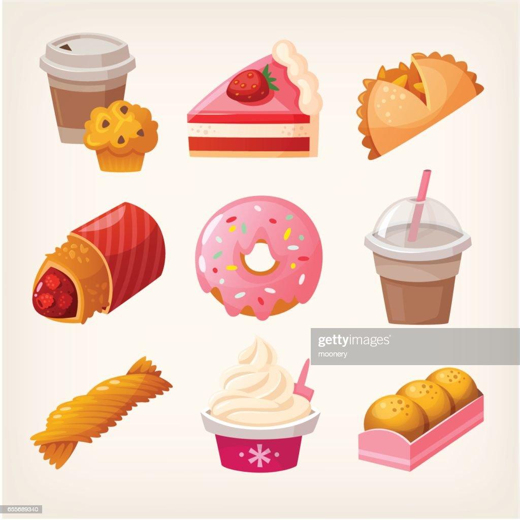 Fast food dessert goods.