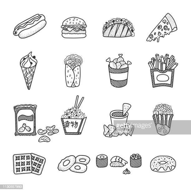 fast food doodles set - fast food stock illustrations