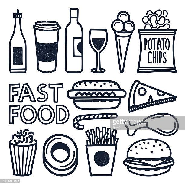 fast food doodles - french fries stock illustrations, clip art, cartoons, & icons