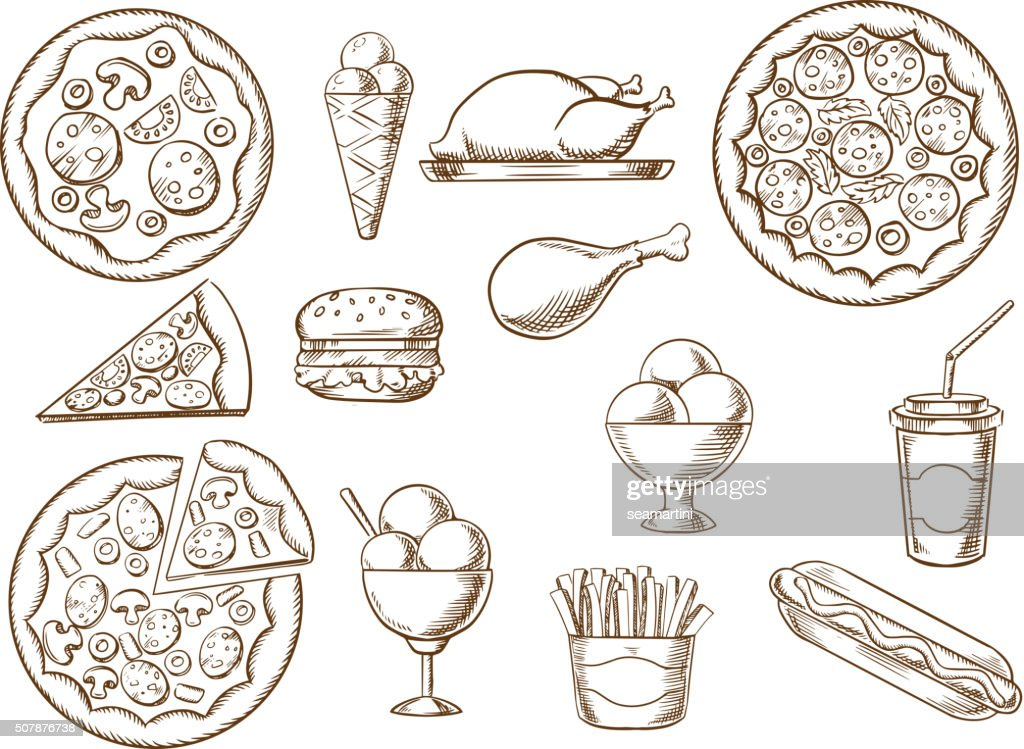Fast food, drink and desserts sketches