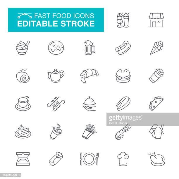 Fast Food Editable Stroke Icons