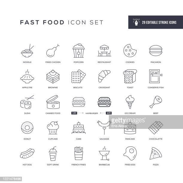 fast food editable stroke line icons - apple pie stock illustrations