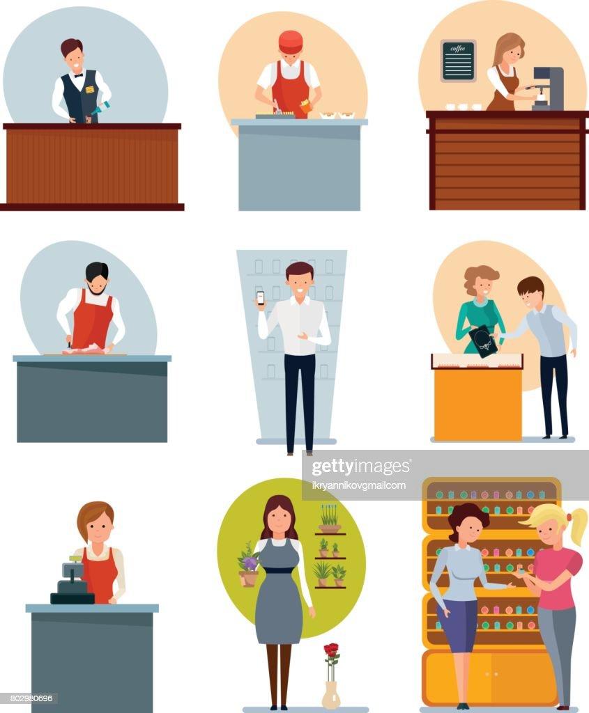 Fast food employee, butcher, seller coffee, jewelry, flowers, perfume, phones