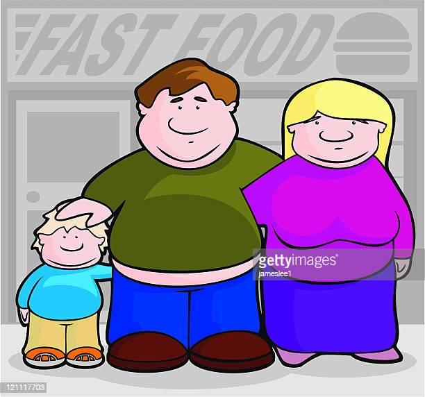 fast food family - fat female cartoon characters stock illustrations, clip art, cartoons, & icons