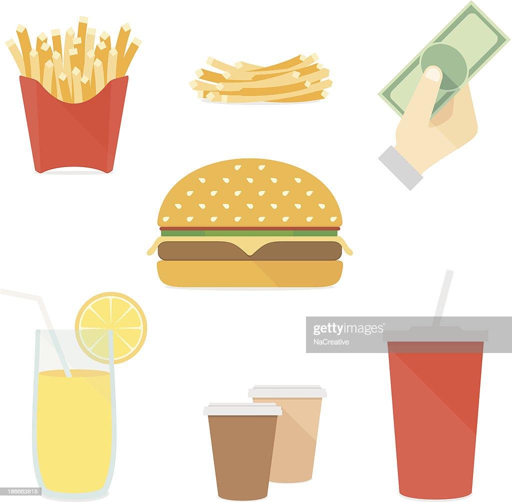 Fast food flat icons set