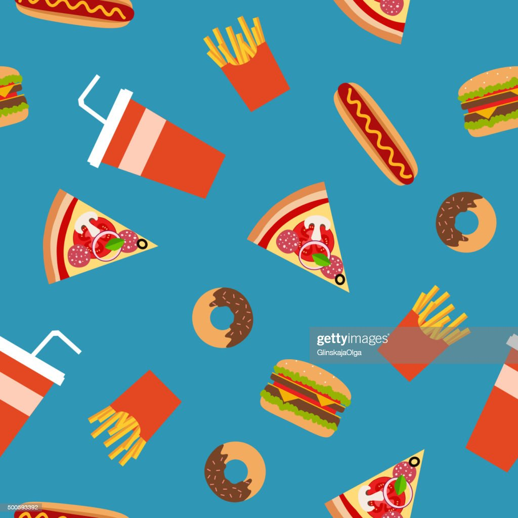 Fast food flat style seamless pattern