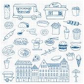 Fast Food hand drawn doodle set