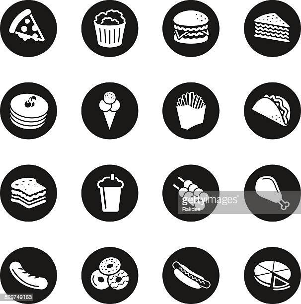 fast food icons - black circle series - chicken pie stock illustrations, clip art, cartoons, & icons