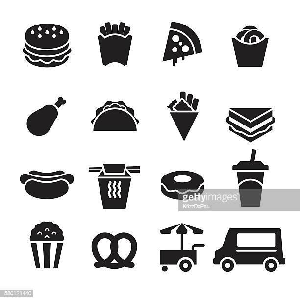 ilustrações de stock, clip art, desenhos animados e ícones de fast food icons [black edition] - batata frita