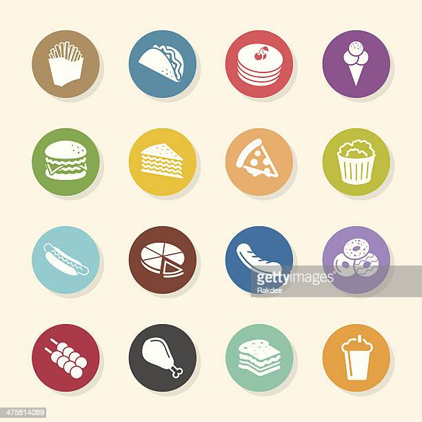 fast food icons - color circle series - chicken pie stock illustrations, clip art, cartoons, & icons