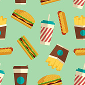 Fast Food icons pattern in flat style