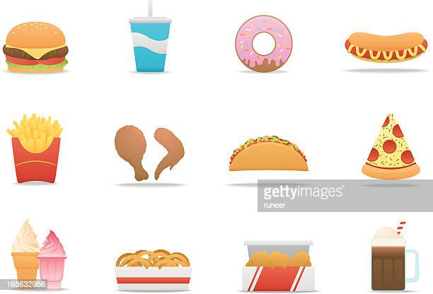 fast food icons | premium matte series - donut stock illustrations, clip art, cartoons, & icons