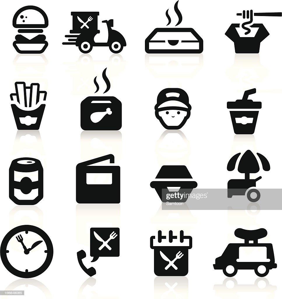 Fast Food icons set Elegant series