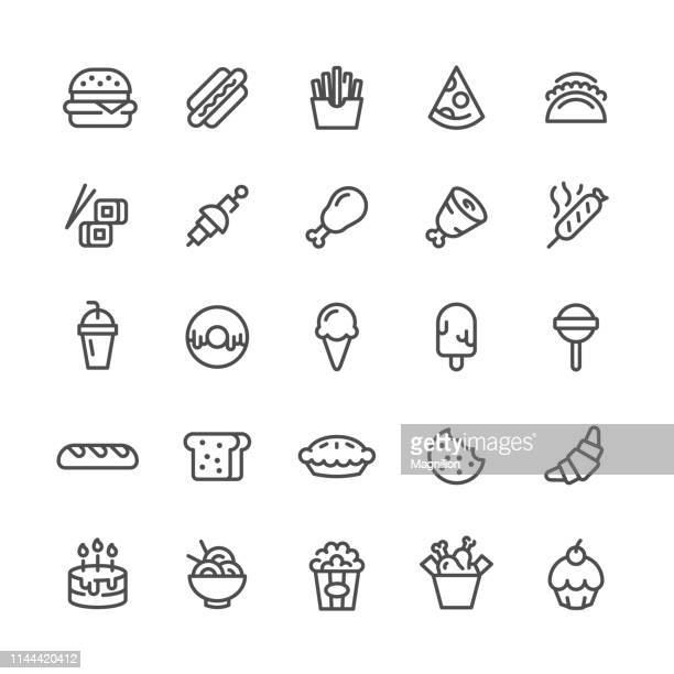 fast food icons set - chicken pie stock illustrations, clip art, cartoons, & icons