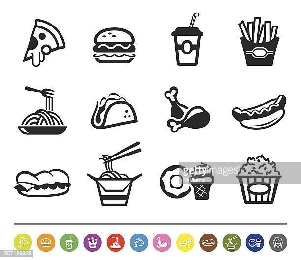 fast food icons | siprocon collection - unhealthy eating stock illustrations