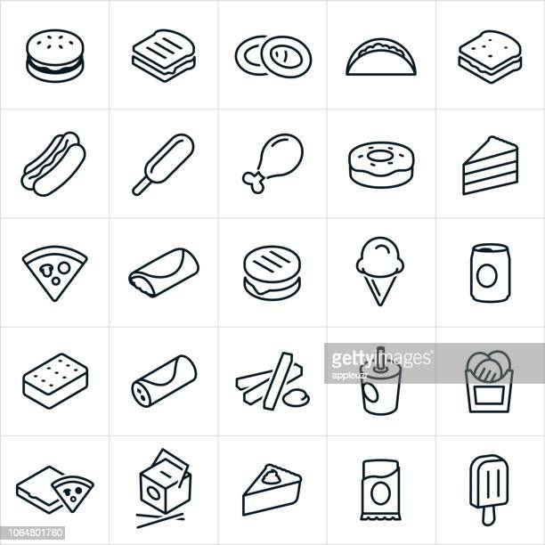 fast food icons - frozen food stock illustrations