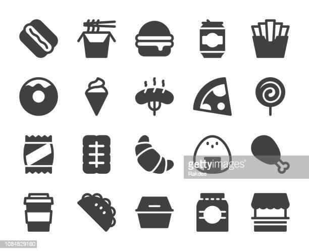 fast food - icons - nachos stock illustrations