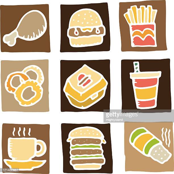 fast food icons - chicken pie stock illustrations, clip art, cartoons, & icons