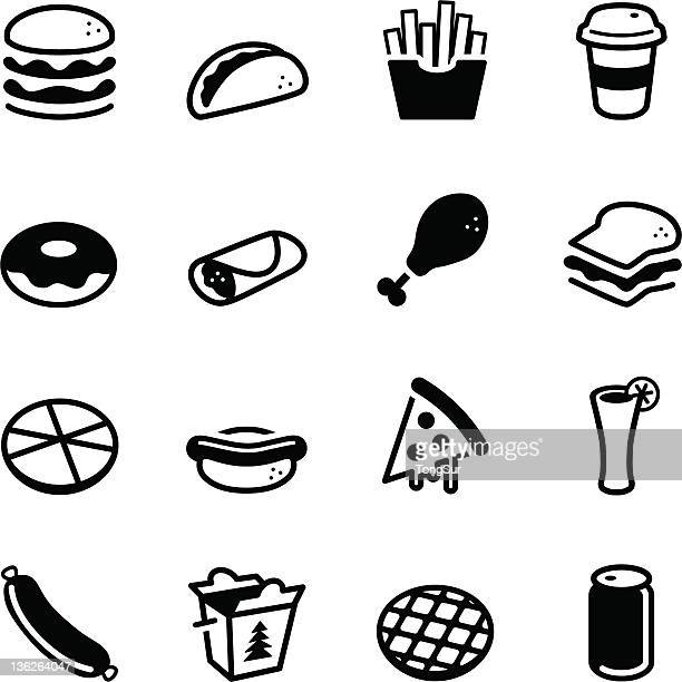 fast food icons - unhealthy eating stock illustrations