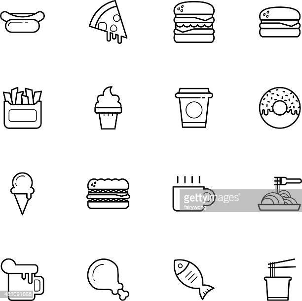 fast food icons - donut stock illustrations, clip art, cartoons, & icons