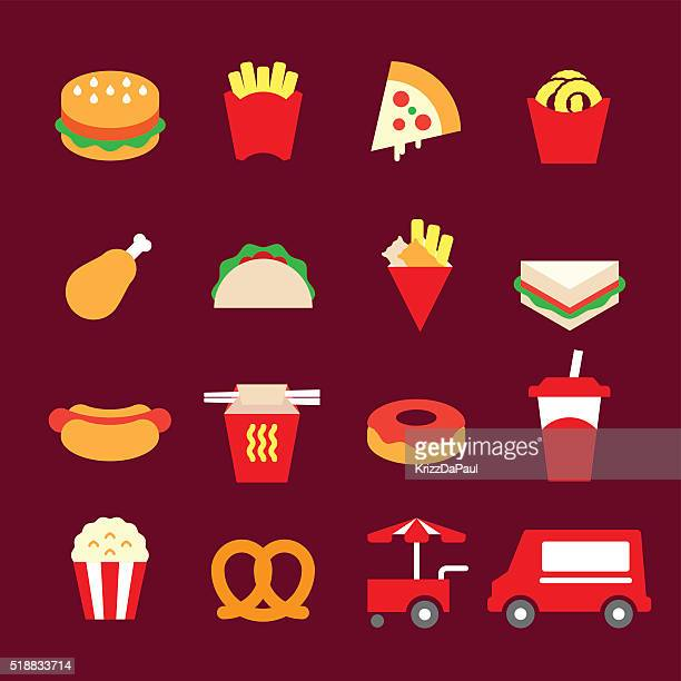 fast food icons - mexican food stock illustrations