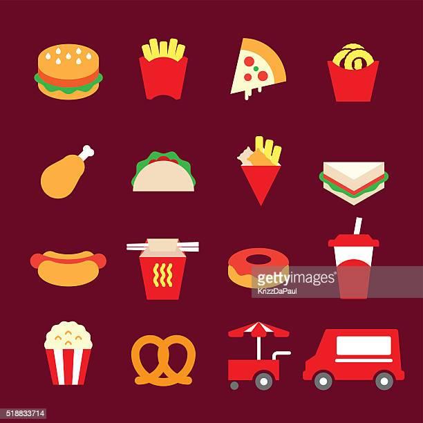 ilustrações de stock, clip art, desenhos animados e ícones de ícones de fast food - batata frita