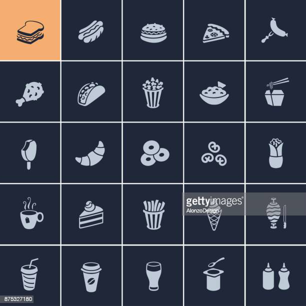 fast food icons - juice drink stock illustrations, clip art, cartoons, & icons