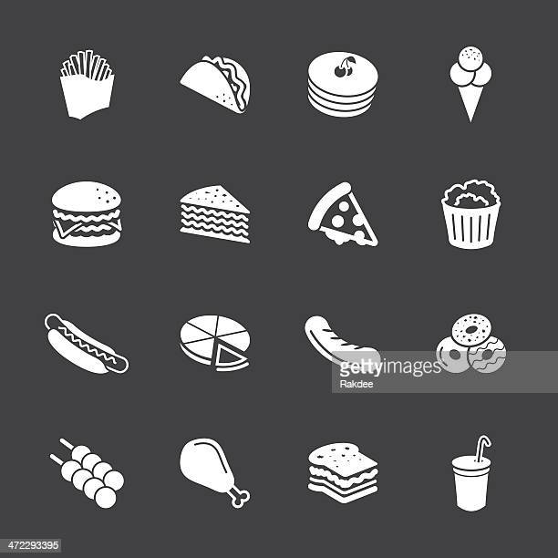 fast food icons - white series | eps10 - chicken pie stock illustrations, clip art, cartoons, & icons