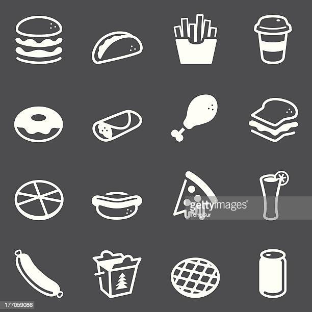 fast food icons - white series - waffle stock illustrations, clip art, cartoons, & icons