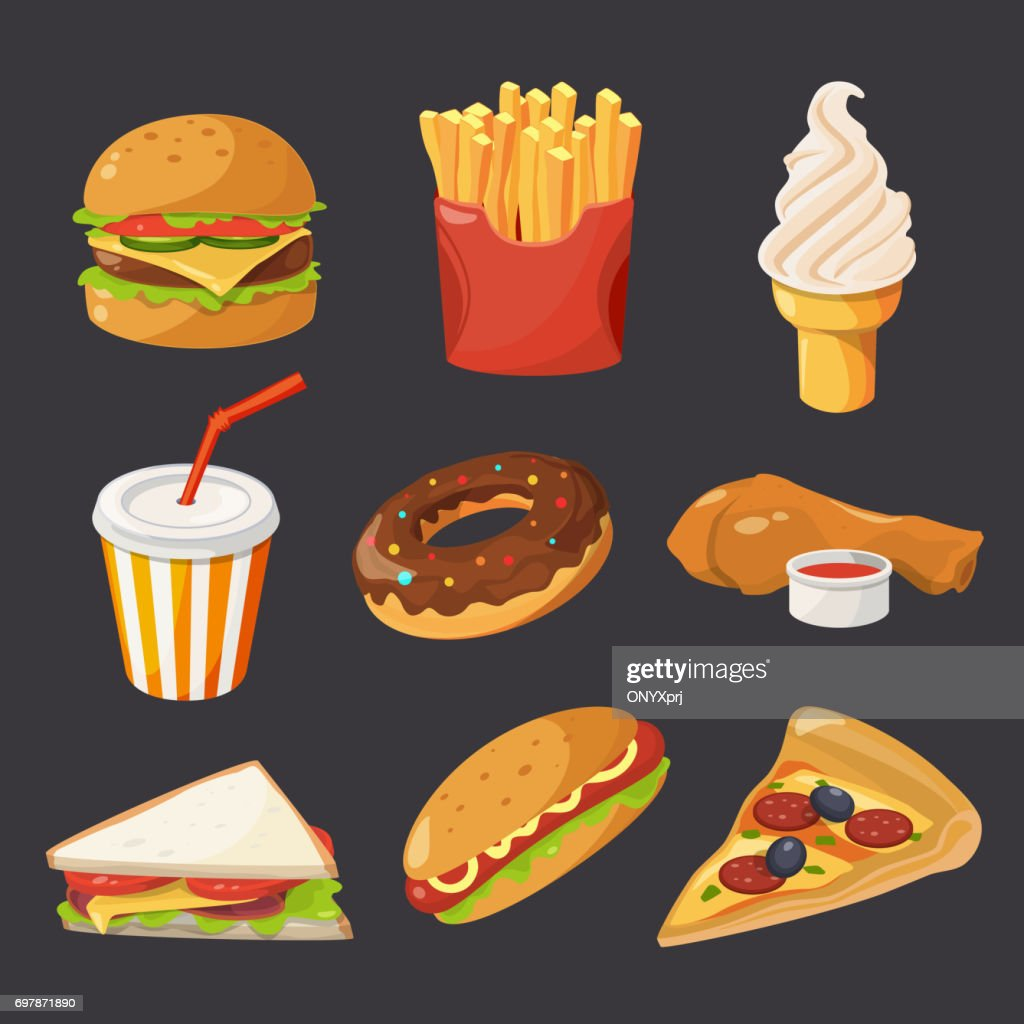 Fast food illustration in cartoon style. Pictures of burger, cold drinks, tacos and hotdog