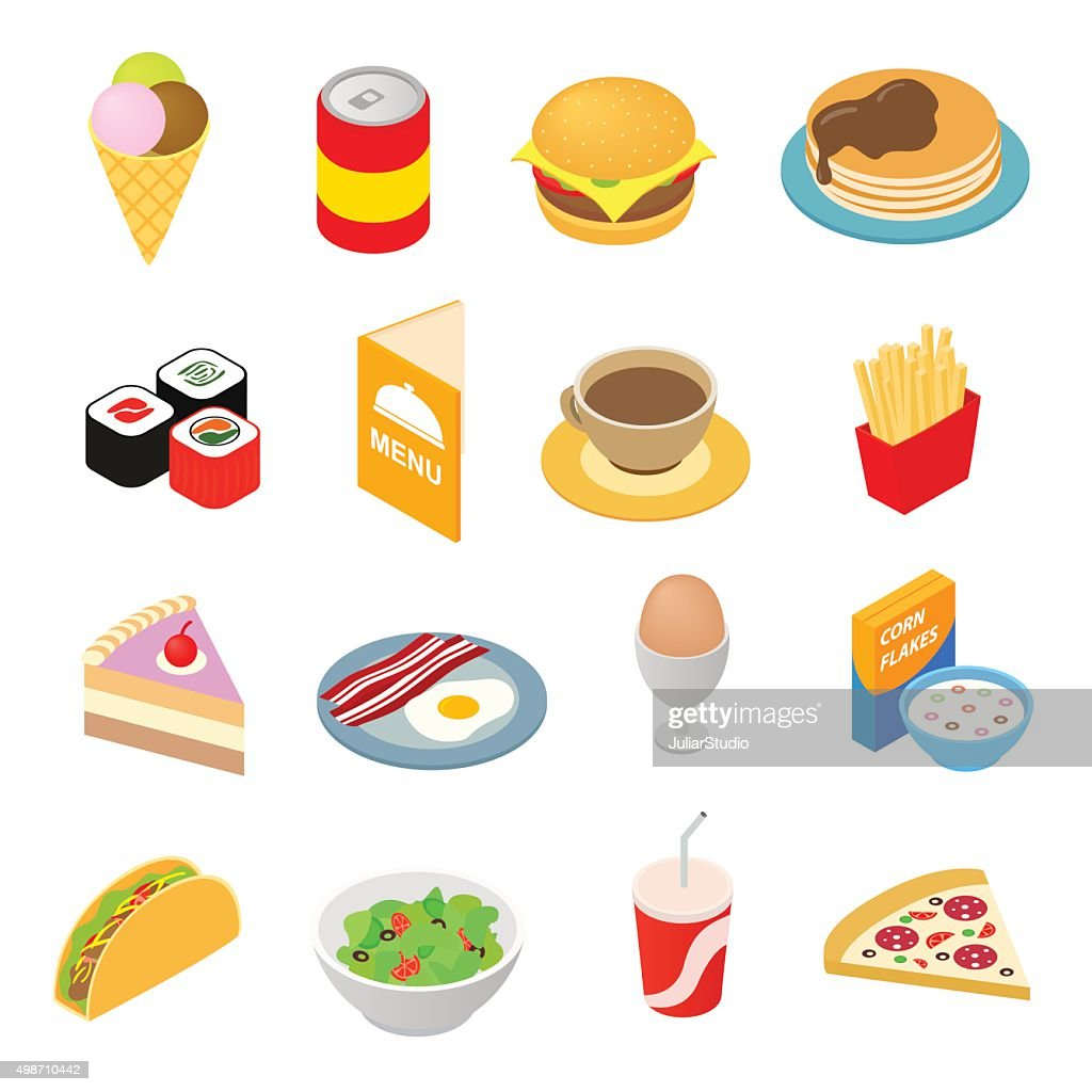 Fast food isometric 3d icons set