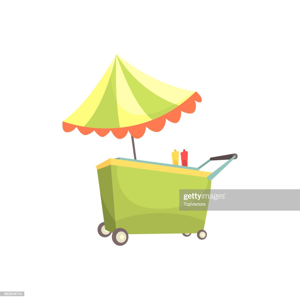 Fast food kiosk on wheels, market stall for external usage cartoon vector Illustration