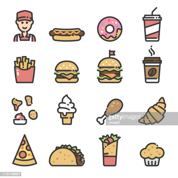 fast food - line art icons - unhealthy eating stock illustrations
