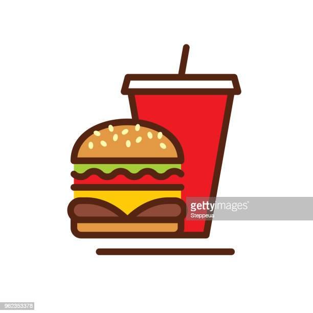 fast food line icon - unhealthy eating stock illustrations