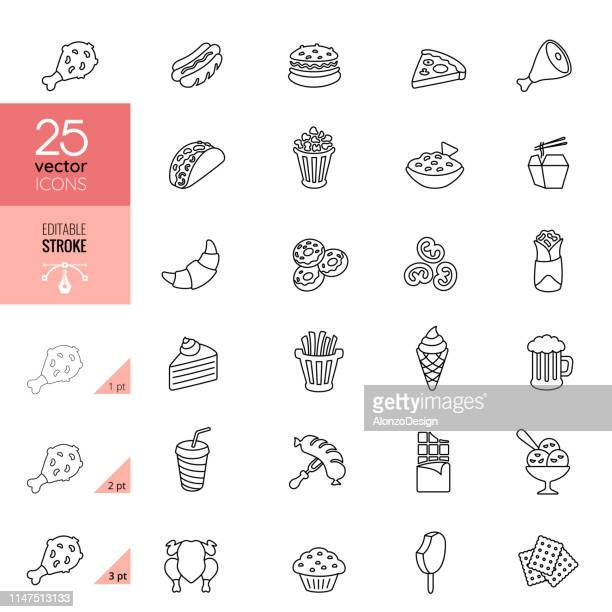 fast food line icons. editable stroke. - unhealthy eating stock illustrations