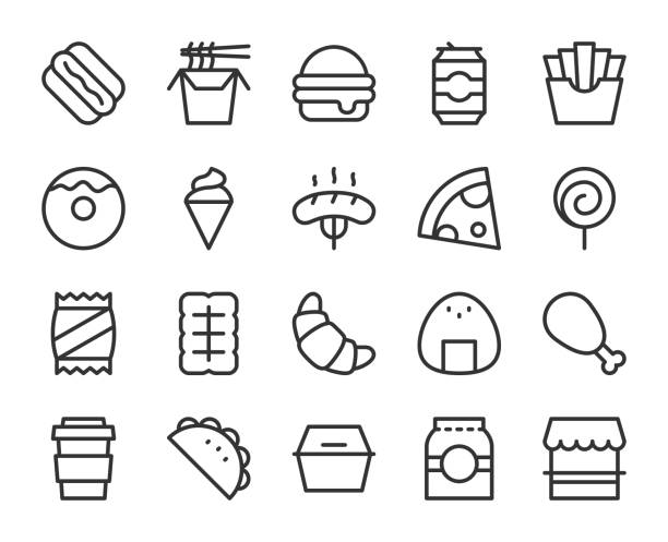 fast food - line icons - frozen food stock illustrations
