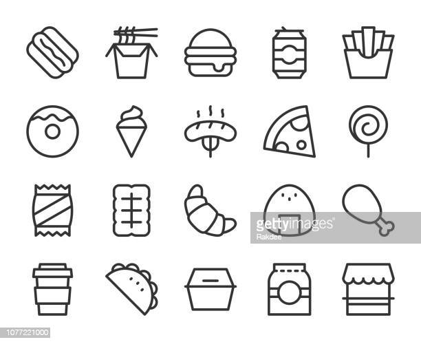 fast food - line icons - unhealthy eating stock illustrations