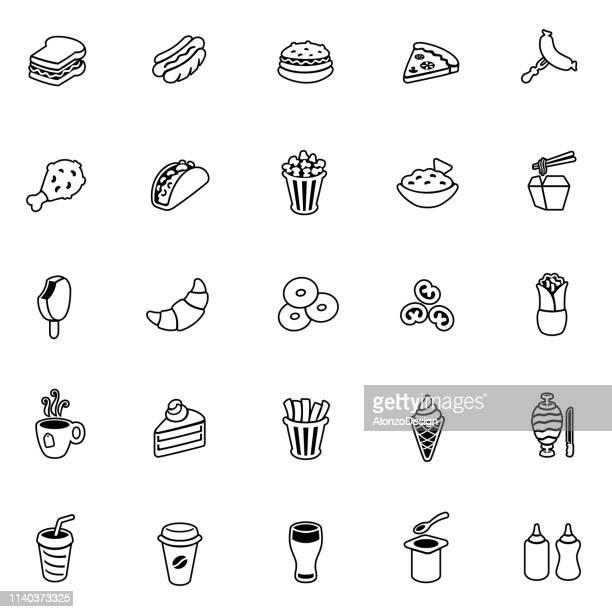 fast food line icons - nachos stock illustrations