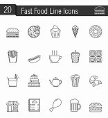 Fast Food Line Icons